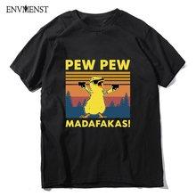 T-Shirt manches courtes homme, estival et humoristique, en coton, Vintage, Animal, avec dessin de poulet, Pew Pew Madafakas, Gangster, Meme, 2020