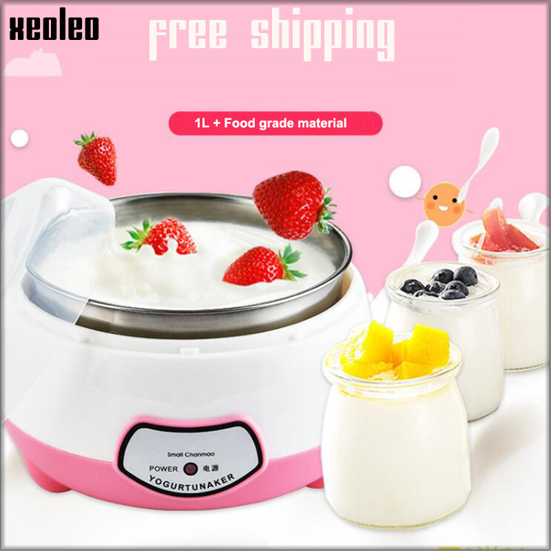 XEOLEO Yogurt maker Mini Automatic Yogurt machine Household DIY Yogurt tools Kitchen appliance Stainless steel tank Pink 220V