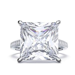 Image 2 - Rainbamabom 925 prata esterlina quadrado criado moissanite diamantes pedra preciosa noivado casamento casal anéis jóias atacado