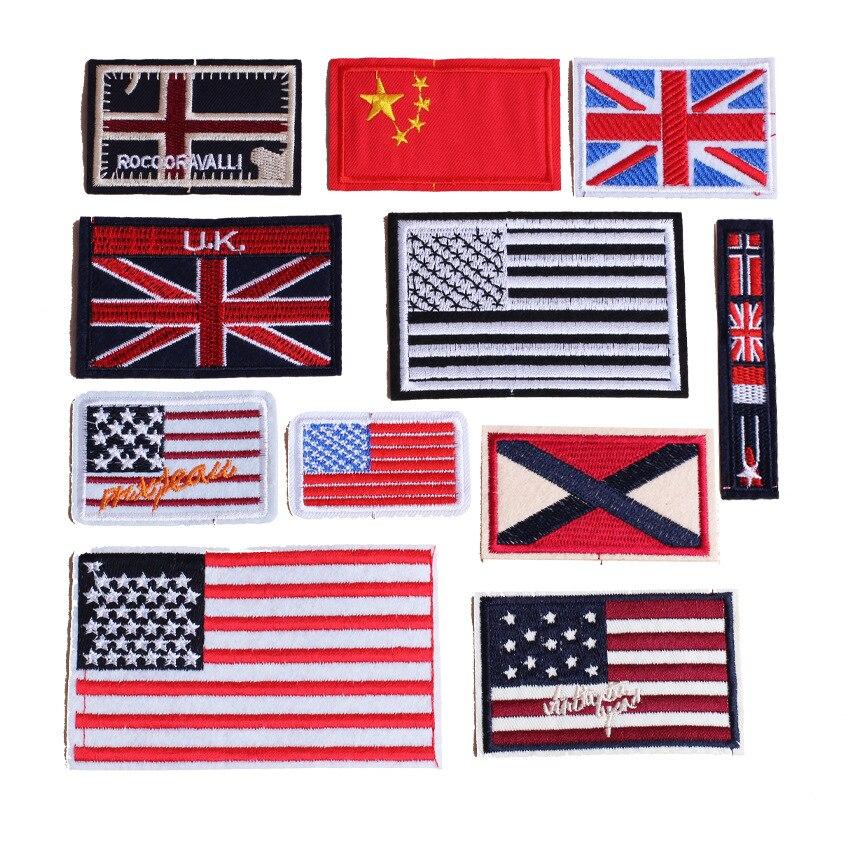Flagge Patches Eisen auf Patches für Kleidung Streifen Platz Abzeichen Bestickt Patches für Kleidung Aufkleber auf Kleidung DIY Applique