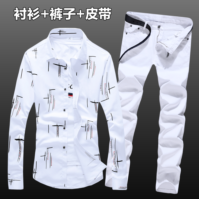 Spring Autumn Mens Cotton Pattern Long Sleeve Shirt Long Trousers 2pcs Set Casual Clothing Top Shirts Jeans Pants For Male  N36