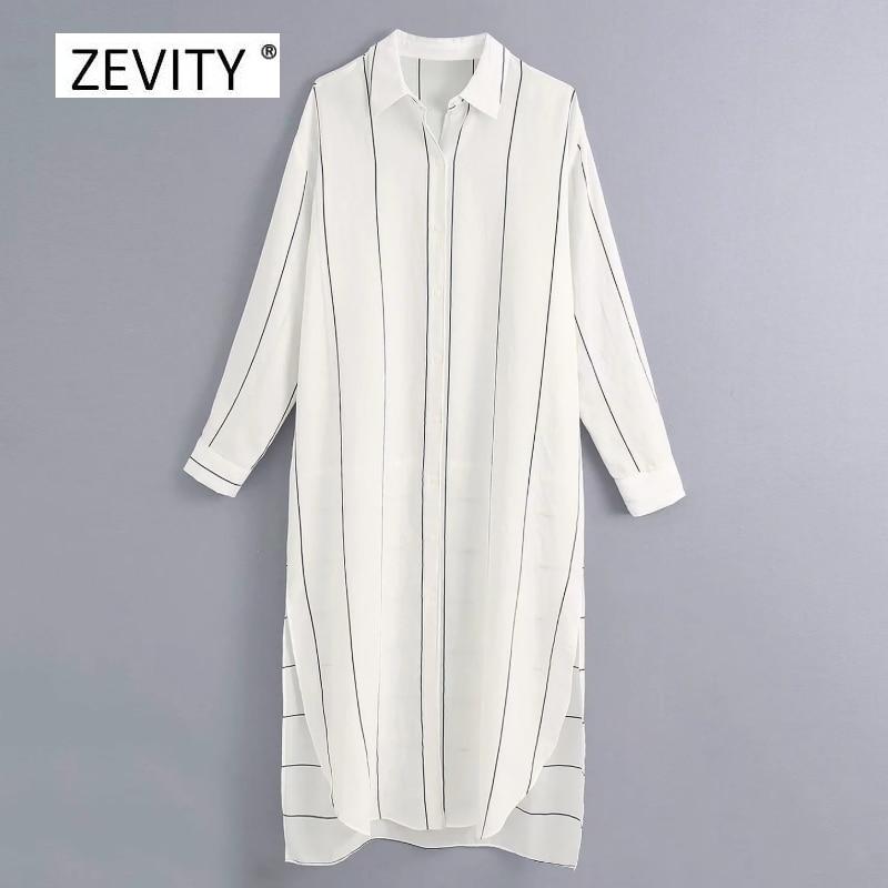 Zevity women fashion striped print patchwork casual shirt dress office ladies long sleeve side split vestido chic dresses DS4073