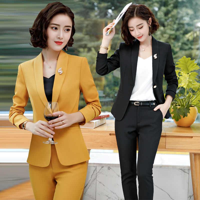 2019 automne hiver femmes costume formel élégant bureau dame travail pantalons Anti-rides pantalon et Blazer ensemble grande taille 4XL XXXL XXL