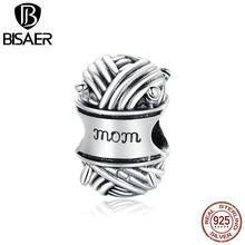 BISAER 2020 Perlen Ball von Garn 925 Sterling Silber Liebe von Mom Perlen Charms fit Frauen Armbänder DIY Schmuck ECC1654
