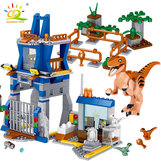 HUIQIBAO 365Pcs Jurassic Dinosaur research institute Building Blocks city velociraptor figures Park Bricks World children Toys