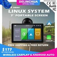 DLC-pantalla táctil de 7 pulgadas para coche, tableta de Apple CarPlay inalámbrica portátil, Android, estéreo, Multimedia, Bluetooth, navegación para Honda