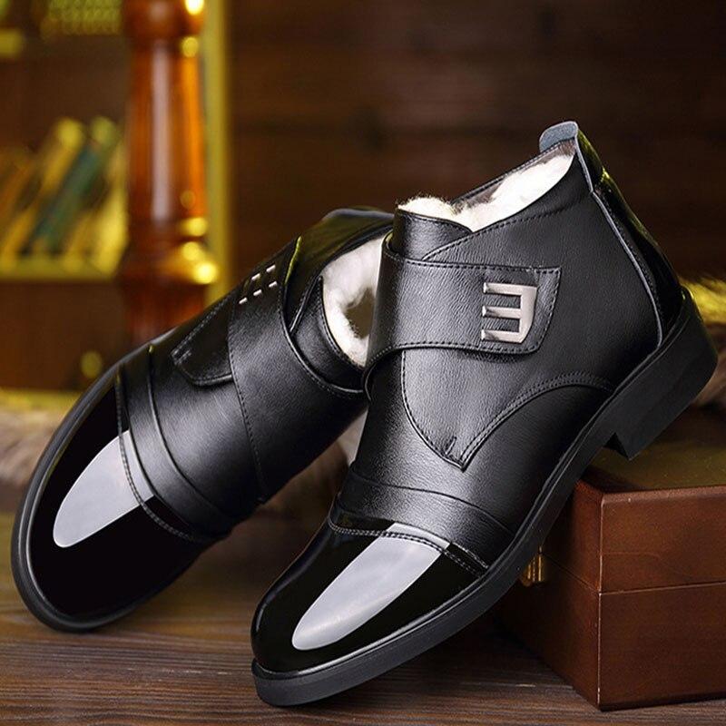 Купить зимние ботинки из смеси шерсти для мужчин зимняя обувь натуральной