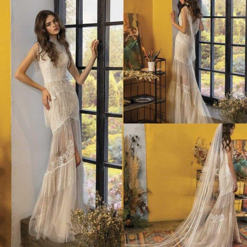 2020 Wedding Dresses High Collar Lace Appliques Tassel Bridal Gowns Gorgeous Backless Sweep Train Mermaid Wedding Dress