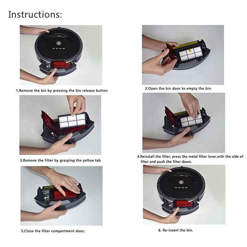 6 sztuk wymiana filtra hepa części do iRobot Roomba 800 900 870 880 960 980 akcesoria do odkurzaczy serii