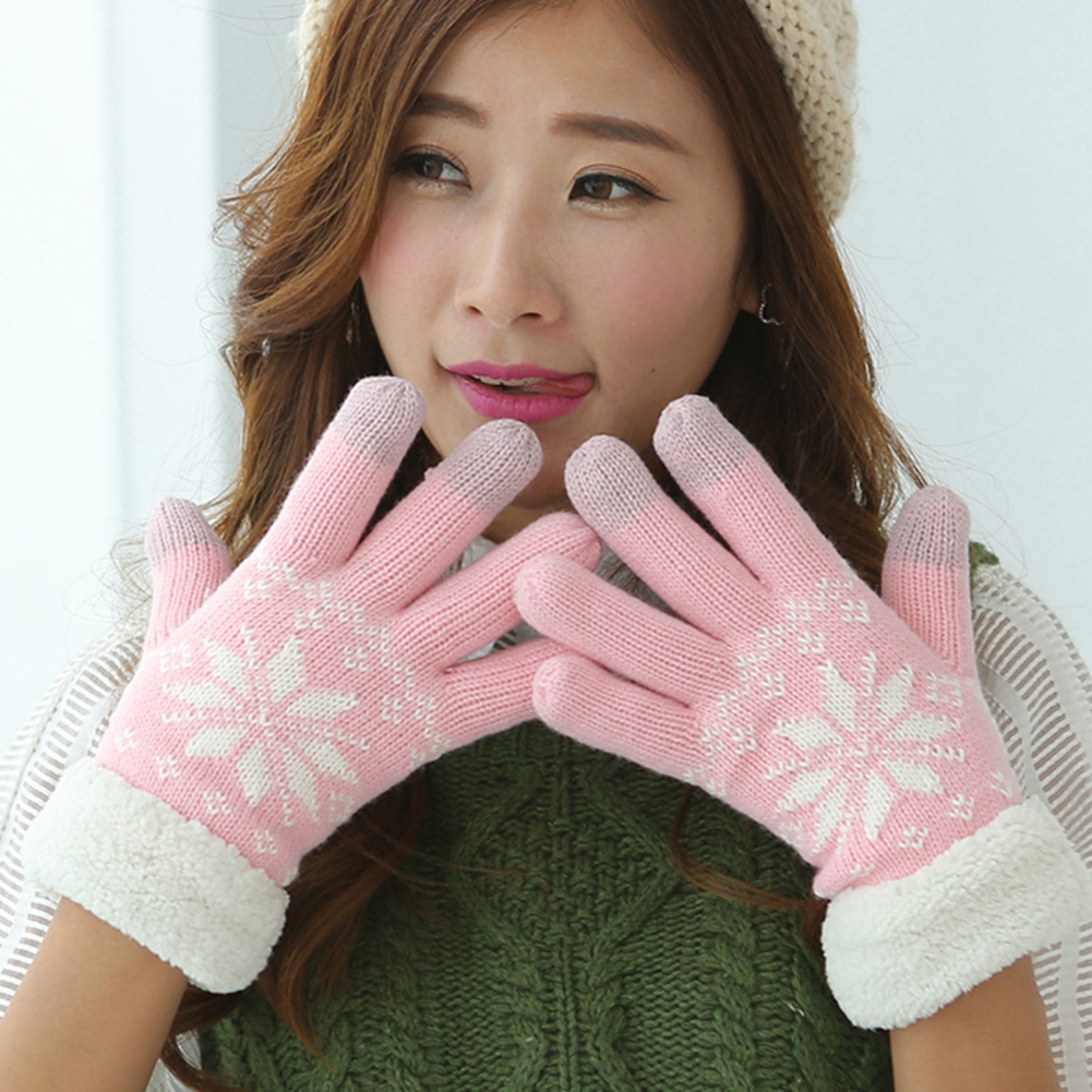 Women Cute Elk Deer Snowflake Touch Screen Fleece Gloves Winter Cashmere Wrist Mouth Gloves Thickening Warm Wool Fleece Mittens