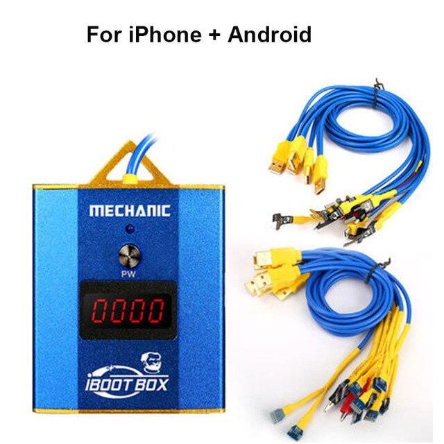 Cabo de fonte de alimentação mecânica iboot box, para iphone 6 6p 6s 6sp 7p 8p linha de fonte de alimentação de bateria x xs xsmax/samsung/android