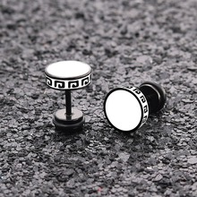 MINCN punk earrings mens titanium gold plating blue black stainless steel couple fashion jewelry Korean women