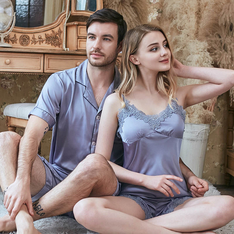 Spring And Summer Newest Simulation Silk Couple Pajamas V-neck Sling Tops With Shorts Suits Set Pijama De Unicornio