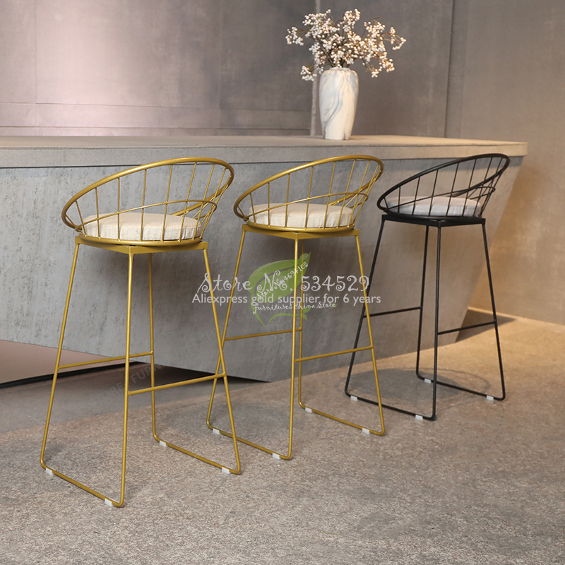 38%Europe Originality Metal Bar Counter Chair Designer Dining Chair Modern Concise Household Leisure Time Chair Bar Chair Metal