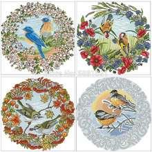 Четыре сезона рисунок в виде дисковых птиц вышивка крестиком
