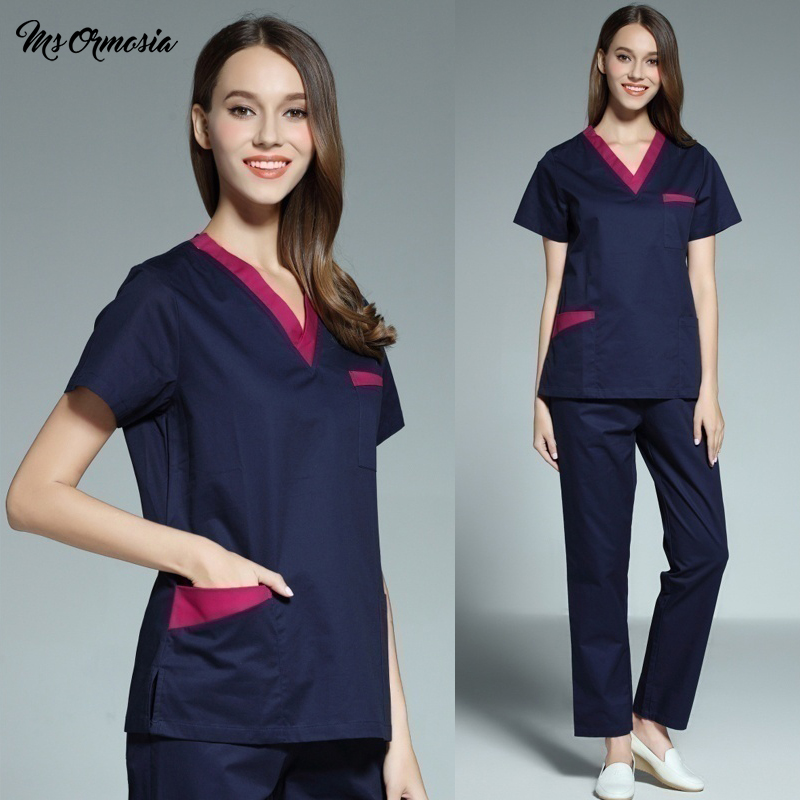 High Quality Medical Surgical Uniform Hospital Nurse Scrub Top Beauty Salon Workwear Dentistry Pharmacy Doctor Surgery Uniforms