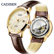 CADISEN Original Brand Watch Men Automatic mechanical MIYOTA 9015 Stainless Steel Genuine leather Waterproof Business Wristwatch