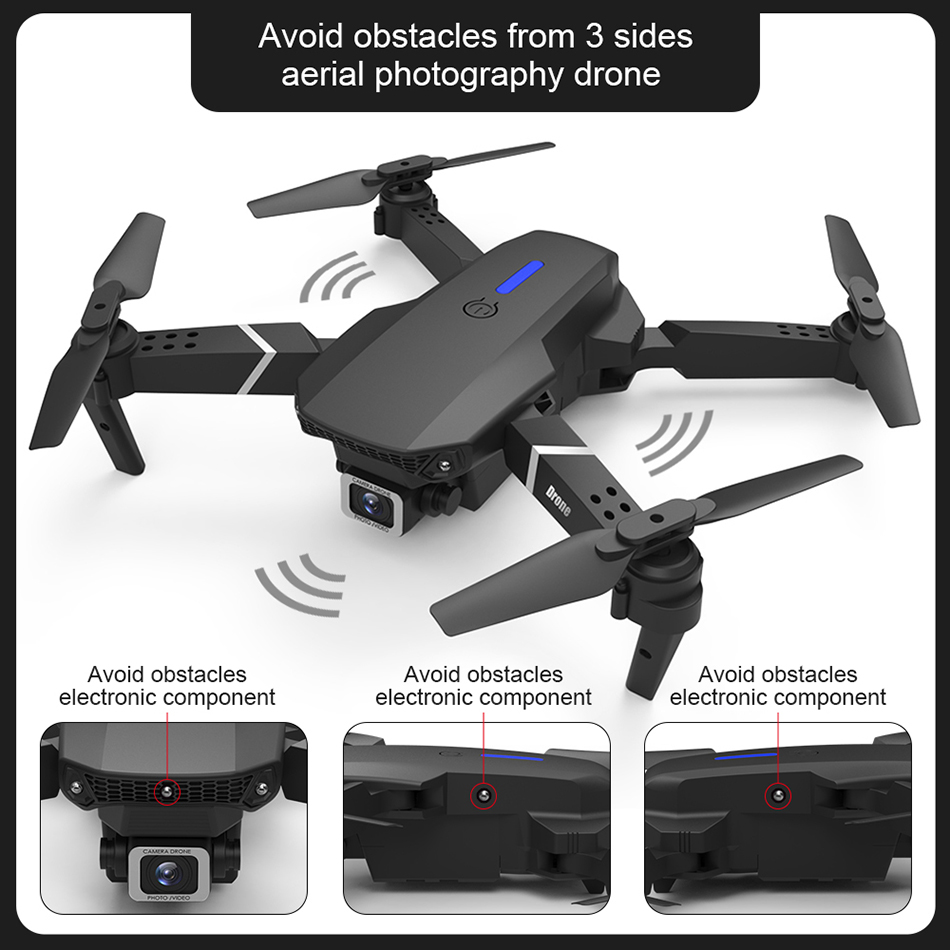 Drone Mini E525 Pro HD 4K 1080P Camera Obstacle Avoidance WiFi FPV Maintaining RC Foldable 3-Sided Drone 4k Profesional Kid 2