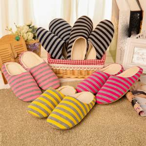 Shoes Woman House Slides Indoor-Slippers Soft-Bottom Warm Floor Plush Autumn Striped