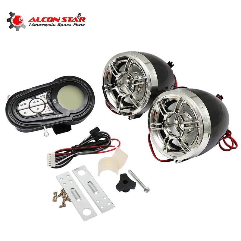 Alconstar- Motorcycle Bluetooth Audio System FM Radio Speaker SD TF USB MP3 Music Player Handsfree Moto Anti-theft Display