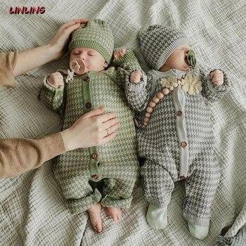 Детская одежда, осенне-зимний комбинезон для новорожденных, Осенние цельнокроеные брюки для девочек, милый костюм для малышей, вязаная теплая одежда для малышей