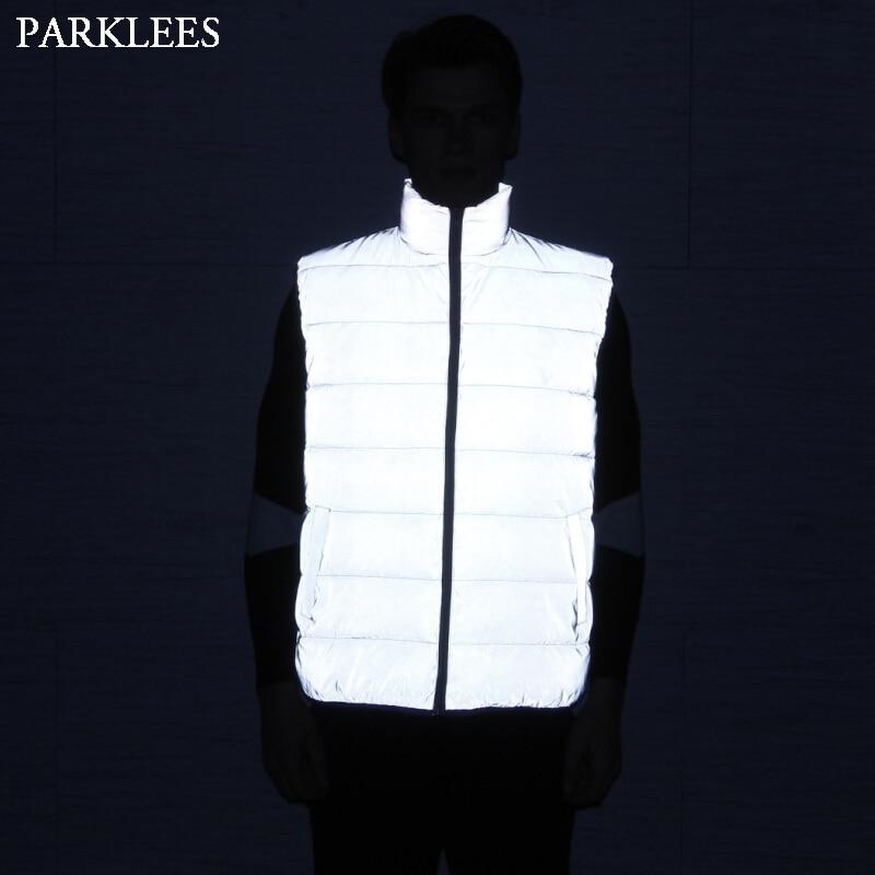 Reflective Mens Winter Vests Casual Slim Fit Winter Jacket Women Sleeveless Jacket Zipper Men Vest Jacket Chalecos Para Hombre