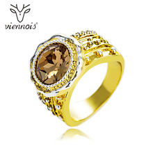 Viennois New Rhinestone Women Size Ring Gold & Gun Mix Color Cocktail Party Ring(China)