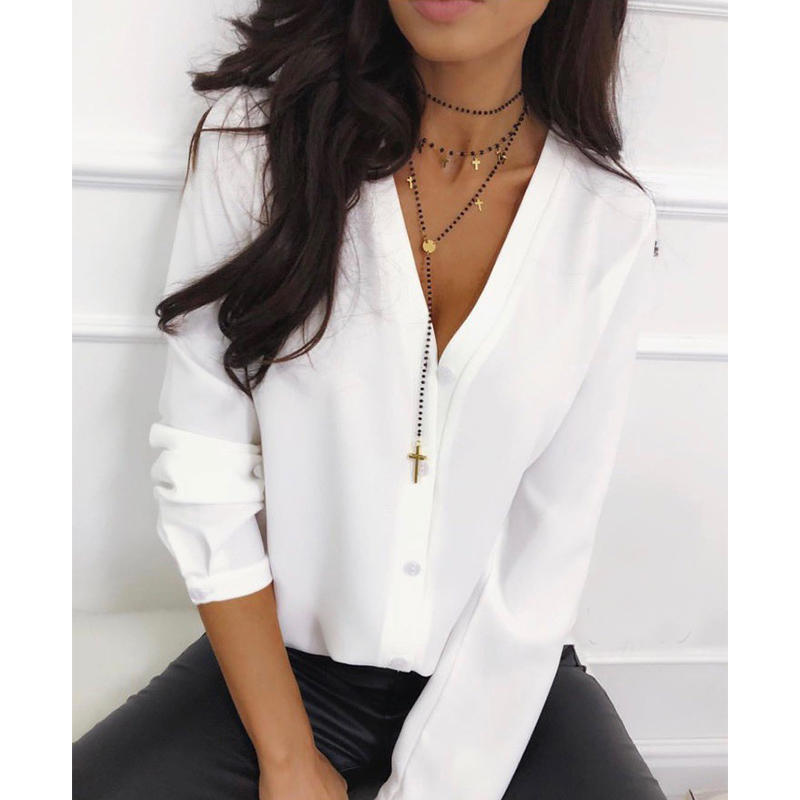 Casual V Neck Women Tops And Blouse Ladies Long Sleeve Button Office Shirts 2019 Female Solid Autumn Blusas Mujer De Moda