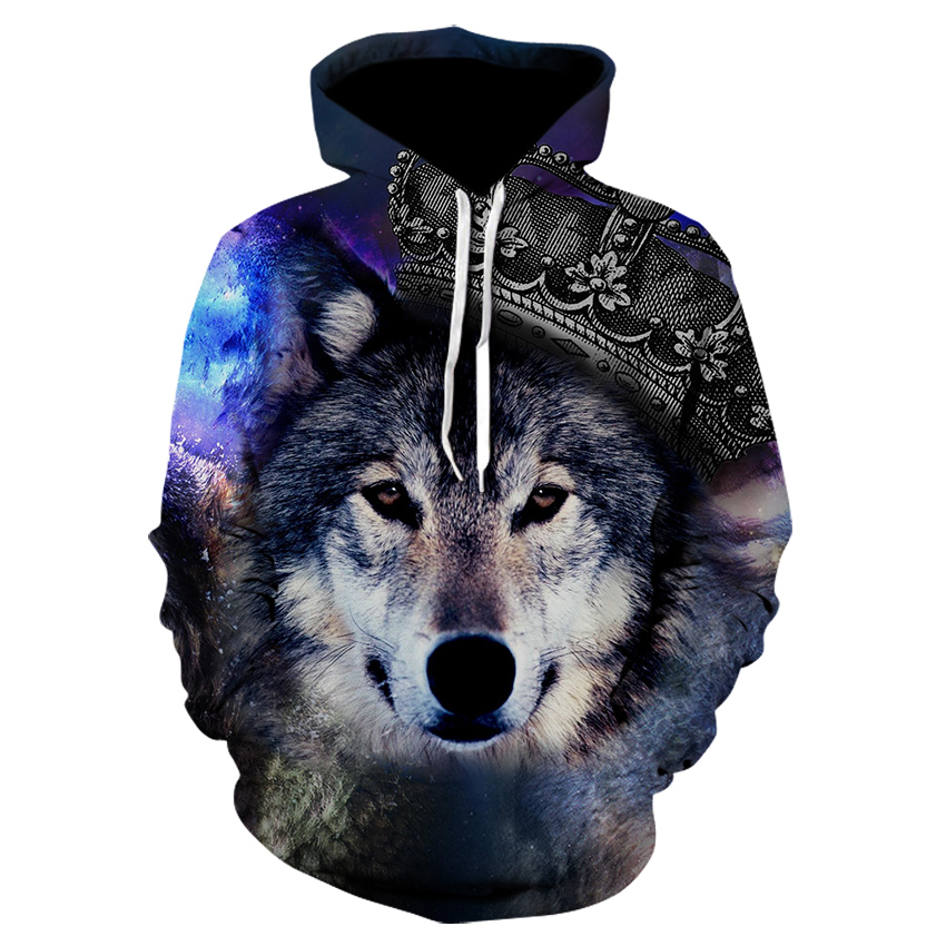 Personality Hoodie Wolf 3D Printed Mens Boys Hoodies Sweatshirt Brand Designer  Clothes Autumn Winter High Quality Sweatshirt