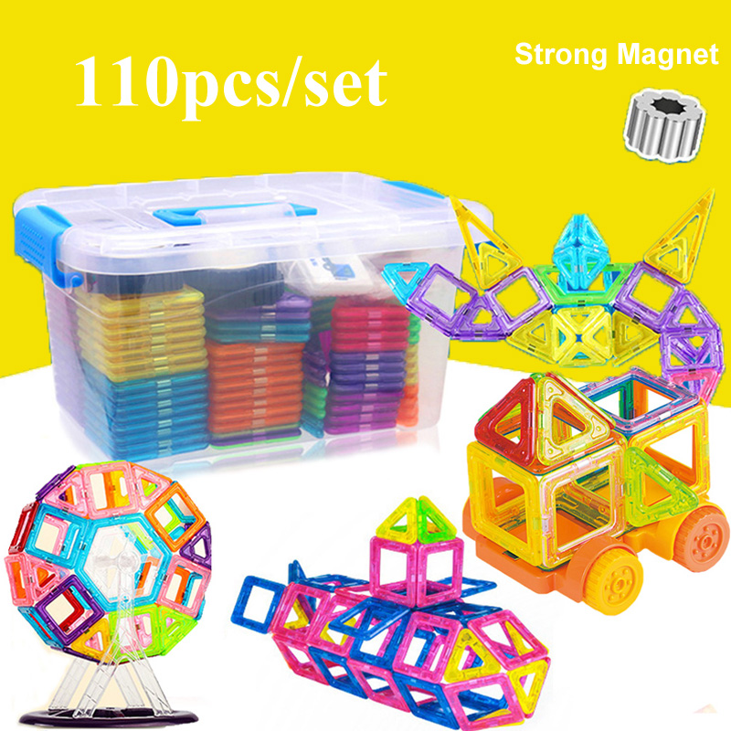 110pcs Magnetic Building Blocks Model & Building Construction Toys Magnetic Designer Educational Toys for Children Gifts