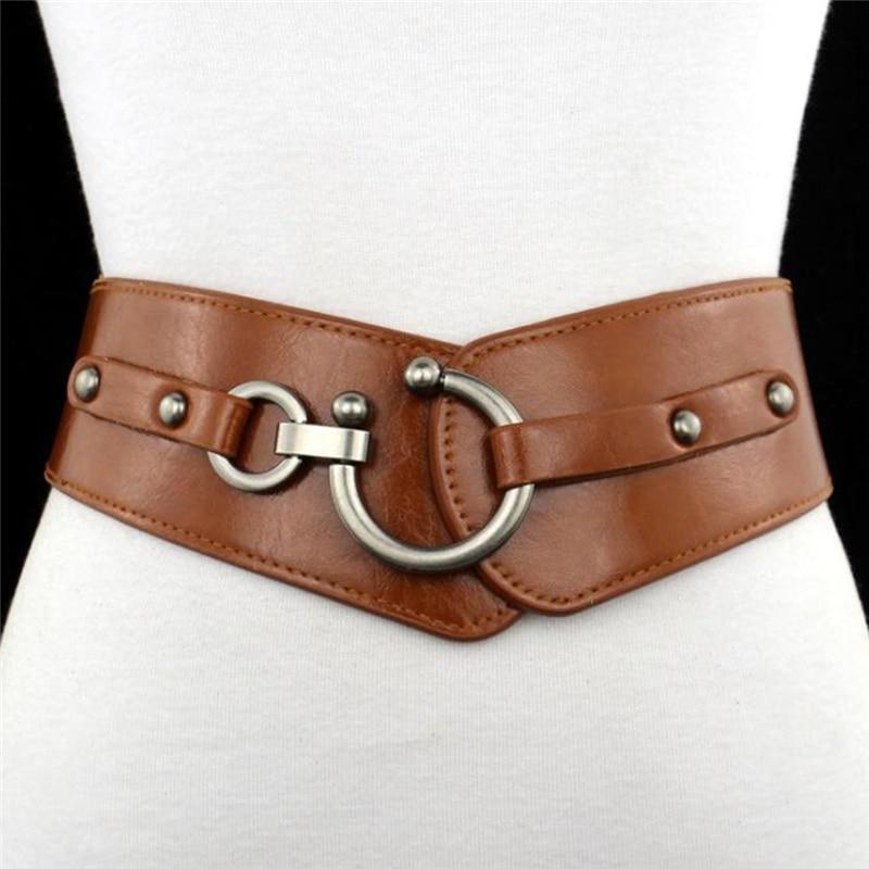 New Fashion Elastic Wide Belt Strap Vintage Women Faux Leather Buckle Elastic Wide Belt Strap Solid Color Waistband