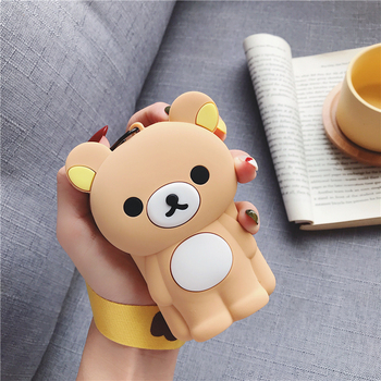 Cartoon Bear Women Coin Purse Small Wallet Cute Headset Bag Kids Female Change Purse Mini Zipper Coin Key Earphone Line Pouch etya women coin purse cartoon cute headset bag small change purse wallet pouch bag for kids gift mini zipper coin storage bag