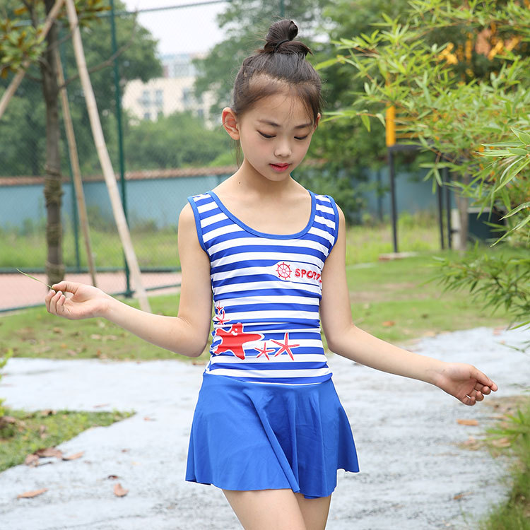 Hu Run KID'S Swimwear GIRL'S One-piece Extra Large Child Swimwear Holiday Quick-Dry Navy Girls Dress-Hot Springs Tour Bathing Su