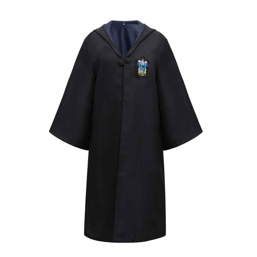 Kids Adult Potter Magic Mantel Cosplay Kostuum Met Trui Wand Jurk Ravenklauw Griffoendor Huffelpuf Slytherin Kostuum