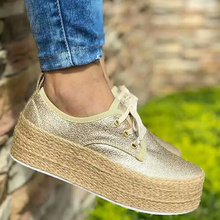 Large Size 43 Fashion Chunky Sneakers Woman Hemp Rope Comfy Canvas Shoes Women Lace Up Casual Shallow