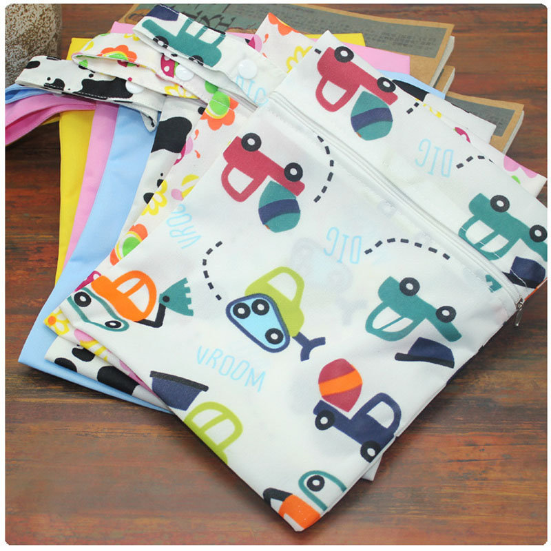 Baby 20*25cm Diaper Bag Infant Waterproof Reusable Wet Dry Bag Print Pocket Nappy Bag Travel Single Layer Diaper Bag With Zipper