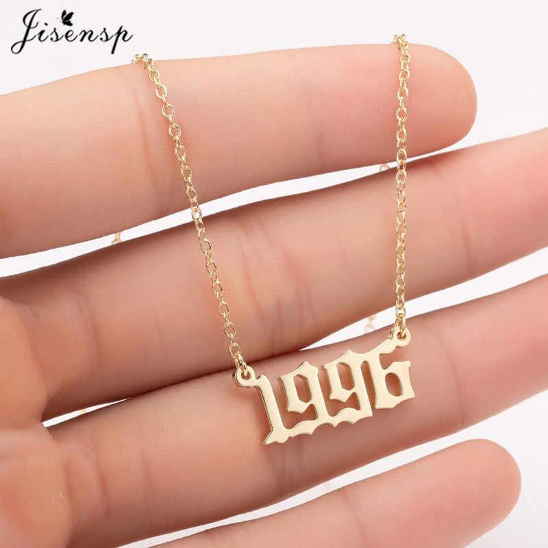 Jisensp Kustom Perhiasan Khusus Tanggal Tahun Nomor Kalung untuk Wanita Anak 1994 1996 1999 1980-2019 Hip Hop pria Collares