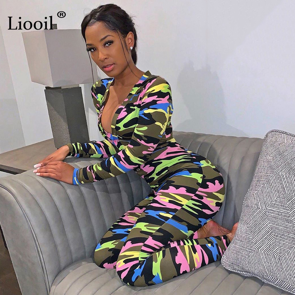 Liooil Camouflage Print Sexy One Piece   Jumpsuits   Fall 2019 Long Sleeve Deep V Neck Button Up Party Club Rompers Womens   Jumpsuit