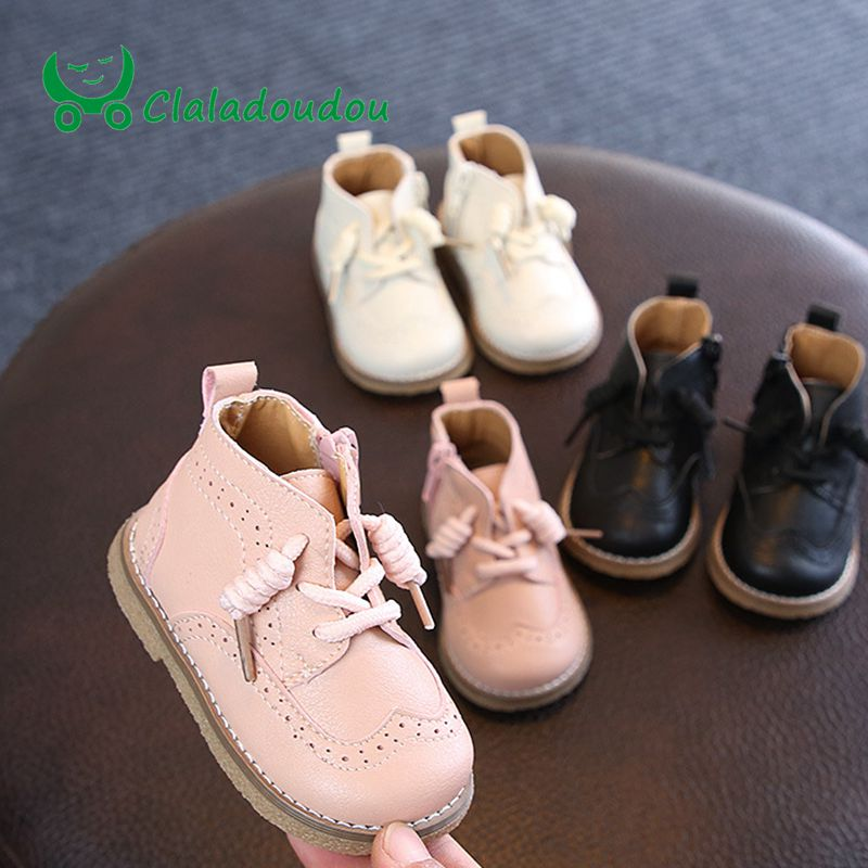 Claladoudou 12 16cm brand toddler boots pink beige black pure Pu leather shoes princess  retro party shoes for girls ankle boots-in Boots from Mother & Kids