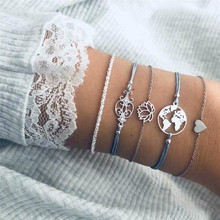 HOCOLE Bohemian Charm Bracelets Bangles For Women Fashion Silver Color Heart Map Flower Chain Bracelet Sets 2019 Jewelry