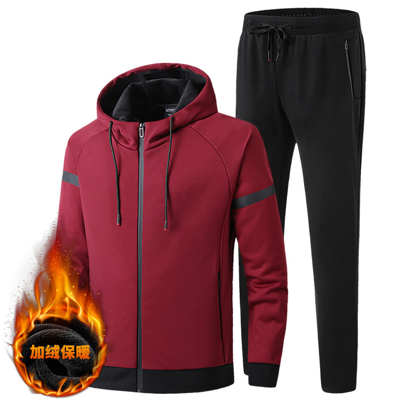 2019 Autumn And Winter Thickening Plus Velvet Sports Suit Men Warm Tide Two Piece Sets Sweater Hoodie Pants Big Size 7XL 8XL