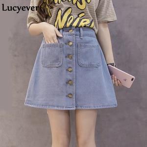 Image 2 - Lucyever Denim women mini skirt summer vintage high waist Korean single button pockets blue jeans A line ladies saia jupe femme