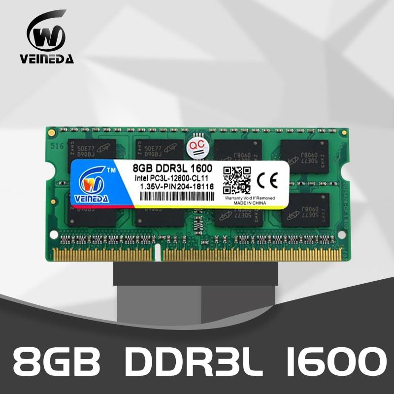 VEINEDA 8 gb ddr3l DDR3L DDR3 4GB 1600MHz PC3-12800 computador Portátil 1.35V SO-DIMM Não-ECC