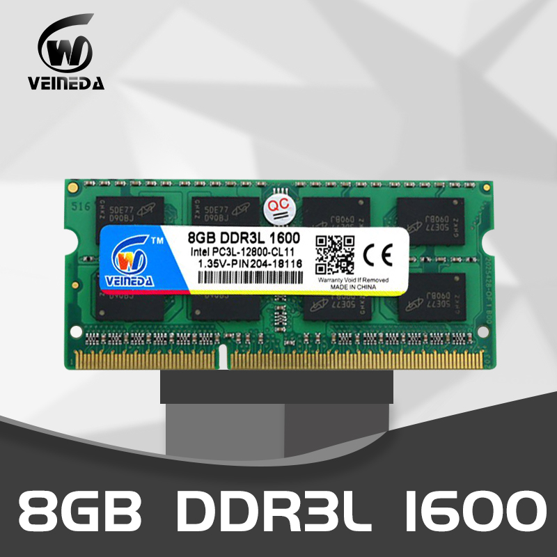 VEINEDA  8 Gb Ddr3l Computer Laptop DDR3L DDR3 4GB 1600MHz PC3-12800 1.35V SO-DIMM Non-ECC