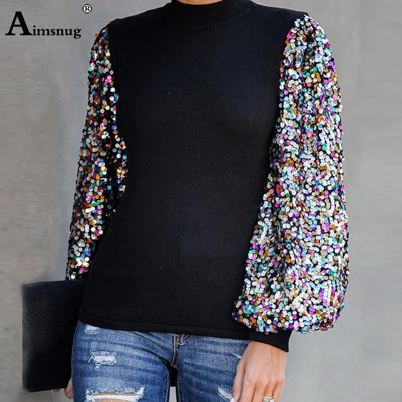 Aimsnug 2019 Autumn Long Sleeve Shirt Women Casual Sequin T-shirt Blusas Harajuku Tops Tee Woman Clothes Camiseta Mujer