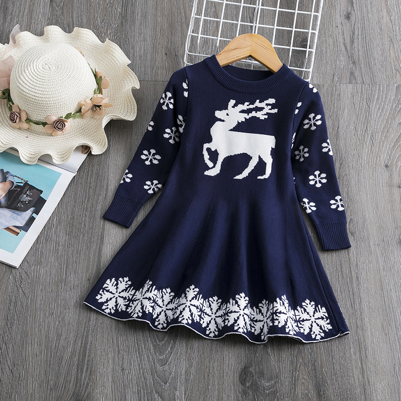 Girls Christmas Dress Long Sleeve Printed Snowflake New Year Costume Xmas Clothes Kids Dresses For Girls Marry Christmas Sweater 3