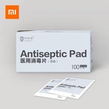 Almohadillas antisépticas para desinfección de Xiaomi, toallitas húmedas con Alcohol para la limpieza de la piel, cuidado de la piel, joyería, limpieza de pantalla del teléfono, 100 Uds.