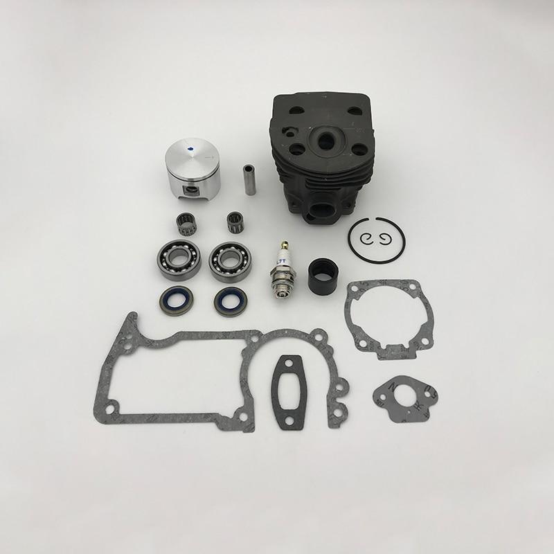 HUNDURE 46mm Cylinder Piston Bearing Oil Seal Kit For Husqvarna 505155 Rancher Engine Gas Chainsaw Parts Nikasil Plate