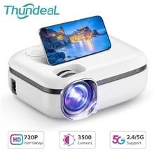 Thundeal nova tecnologia 5g wifi mini projetor td92 nativo 720p projetor de telefone inteligente 1080p vídeo 3d casa teatro portátil proyector