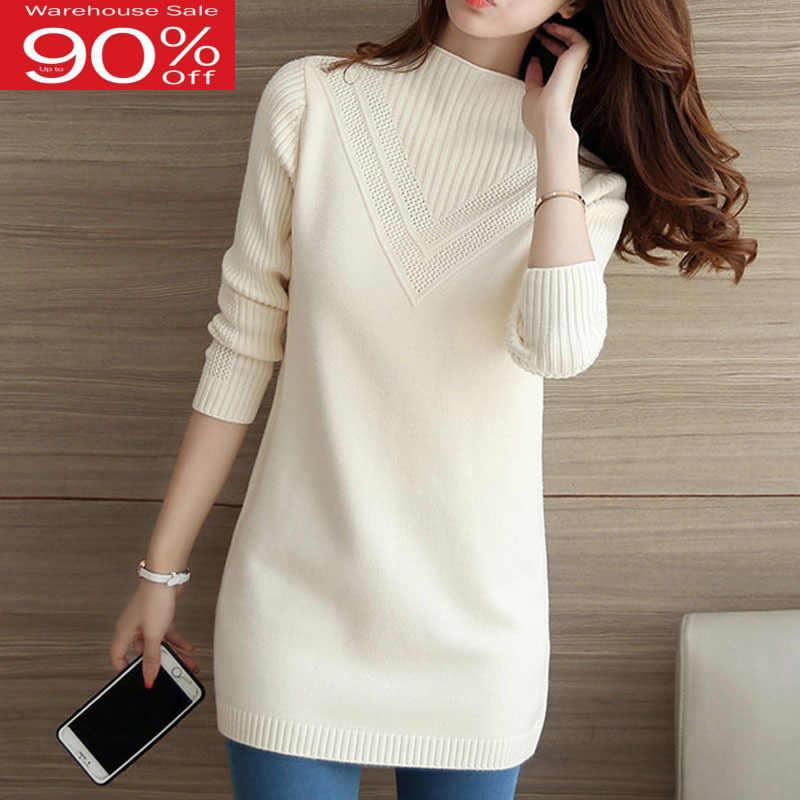 נשים 2020 חדש סתיו והחורף נשי בינוני ארוך בסיסי סוודר סרוג למעלה נערה לבן שחור ורוד אפור a63